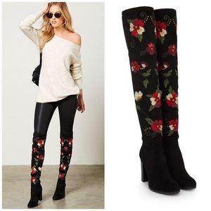 New Sam Edelman Floral Embroidered OTK Boots